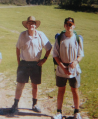 Dad (L) and I (R) walking the Six Foot Track a while ago